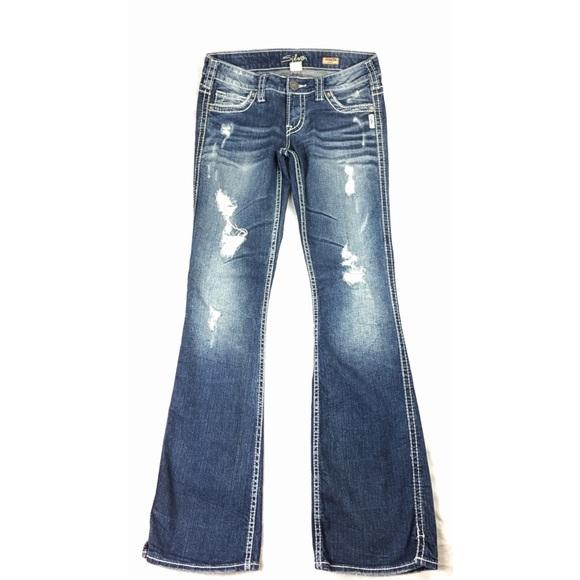 8e8723e4 Silver Frances Flare Jeans Dark Distressed Ripped.  M_5ad7f5e136b9de0300a630b5